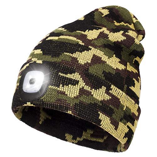 Wmcaps Cappello Unisex Illuminato Berretto 4 LED, Cappello con Luce LED Cappello Uomo Donna Invernali Berretto a 3 Livelli di luminosit LED,Rimovibile Lavabile Beanie cap (Army Green)