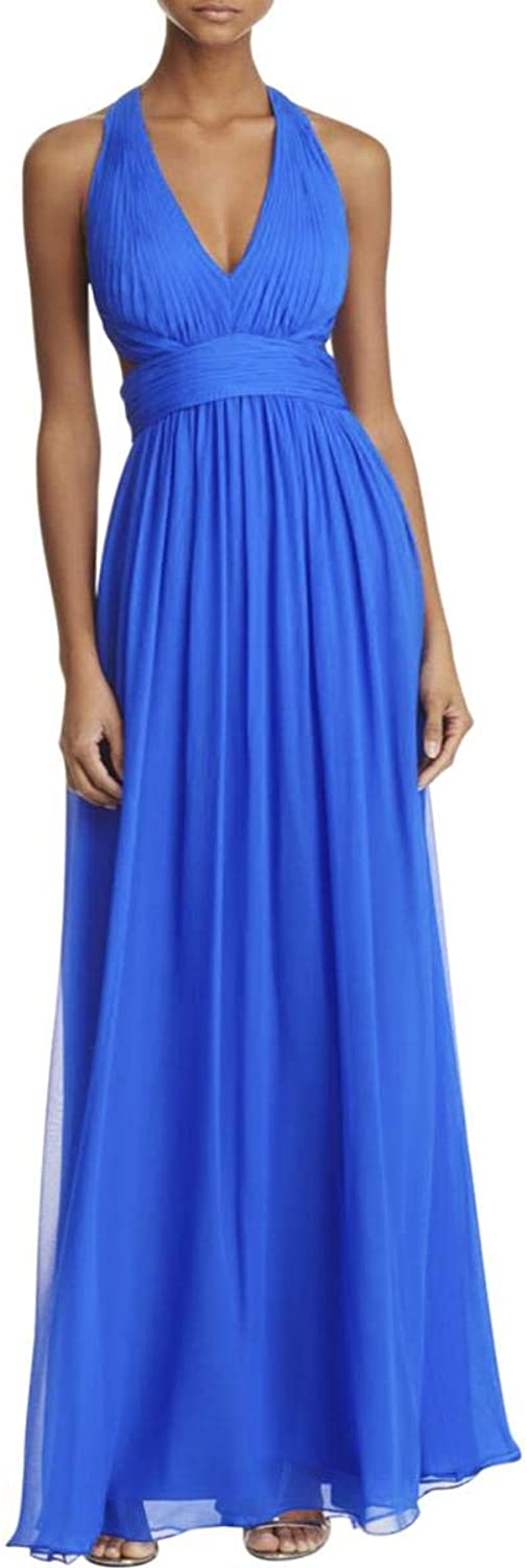 Aidan Mattox Womens Halter Cut Out Gown Special Occasion Dress