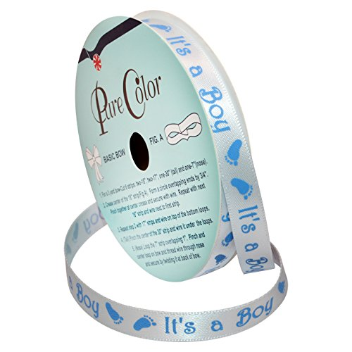Morex Ribbon Special Occasions Ribbon: It's a Boy, Polyester, 3/8-Inch by 10-Yard, Light Blue, Item 90202/10-02