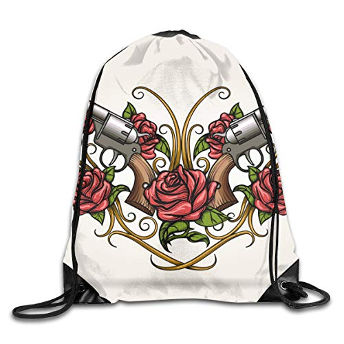 NA Two Guns and Rose Flowers Drawn In Tattoo STYL Vector ImageDirt-ResistantLeisure BackpackFitness BackpackSimplePersonality