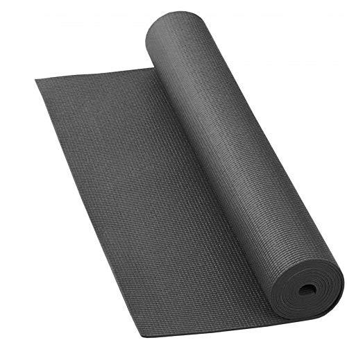 LILENO SPORTS Yoga Matte Anthrazit (180x60cm) inkl. Tragegurt - Gymnastik und Fitnessmatte extra rutschfest in 4 mm Dicke - Sport und Yogamatte für Gym, Workout und Yoga - Sportmatte für Zuhause