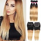 FASHION LADY Peruvian Ombre Hair Bundles Ombre Honey Blonde Color 1b/27 Straight Human Hair Bundles with 4x4 Free Part Lace Closure(16 18 20+16 Color 1b/27)