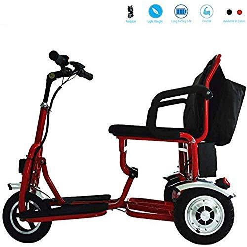 Daxiong Faltbare Elektro-Dreirad, Motorroller, Elektro-Rollstuhl Reisen Sicherheits-Travel Aid, Rot,A