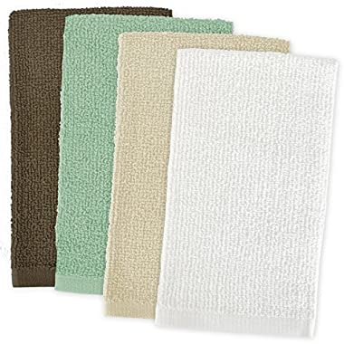 DII Kitchen Bar Mop Cleaning Terrycloth Towels (16 x 19, 4 Pack) Pure Cotton, Machine Washable, Absorbent, Everyday Basic Lint-free Dishtowels - Natural