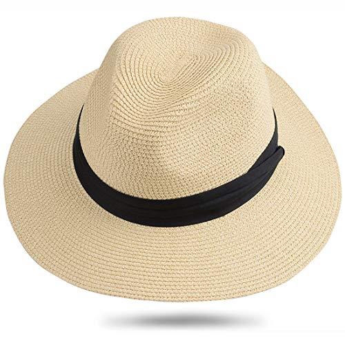 Maylisacc Panama Hut Herren Damen Sommer Fedora Strohhut Rollbar UV Sonnenhut 59-60cm (Beige SZ)