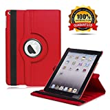 New iPad 2017 9.7' / iPad Air 2 Leather Case,360 Degree Rotating Stand Smart Cover with Auto Sleep Wake for Apple iPad Air or New iPad 9.7 Inch 2017 Tablet (Red)