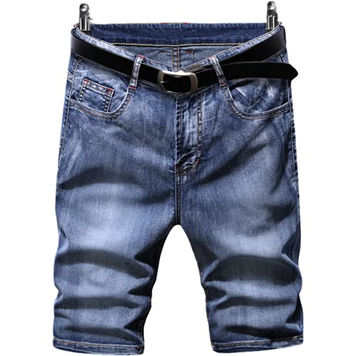 Pantalones cortos de mezclilla para hombre, informales, lavados, cómodos, sencillos, de moda, todo fósforo, ropa de calle, moda, pantalones cortos rectos con botones y tapeta con cremallera 32