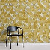 Papel pintado moderno amarillo Bauhaus geométrico con efecto azulejo Pared Pintado Papel tapiz 3D Decoración dormitorio Fotomural sala sofá mural-150cm×105cm