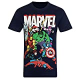 Marvel Comics - Jungen T-Shirt mit Charakteren wie Hulk, Iron Man & Thor - Offizielles Merchandise - Geschenk - Dunkelblau mit Figuren - 7-8Jahre
