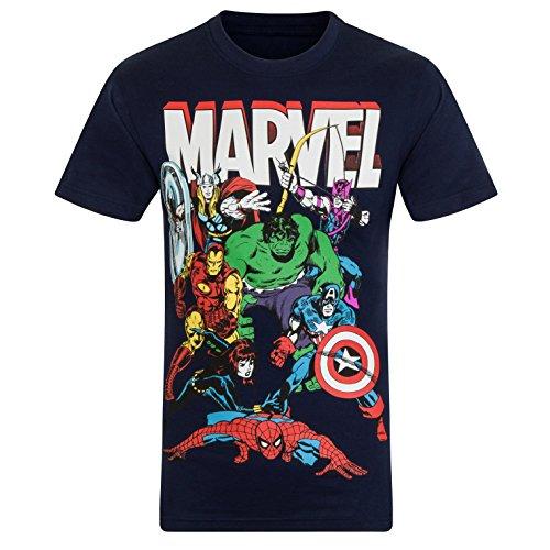 Marvel Comics - Camiseta Oficial para niño - con Personajes de los cómics Hulk, Iron Man, Thor - Azul Marino Personajes - 5-6 años