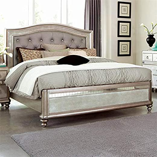 B07GX8ZZPY✅Coaster Bling Game Tufted Queen Panel Bed in Metallic Platinum