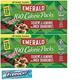 Emerald 100 Calorie Cashews Cranberries Roasted and Salted Snack Pack. Convenient Shopping For 2 Boxes of Individually Wrapped Single Serve Emerald Nuts. Includes 5 Piece Gum Sample.