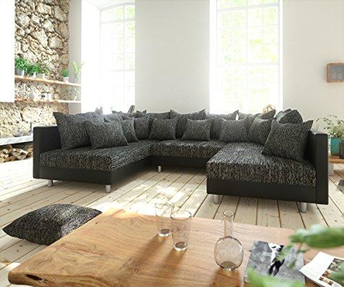 DELIFE Couch Clovis modular - Ecksofa, Sofa, Wohnlandschaft & Modulsofa (Schwarz/Schwarz, Sofa)