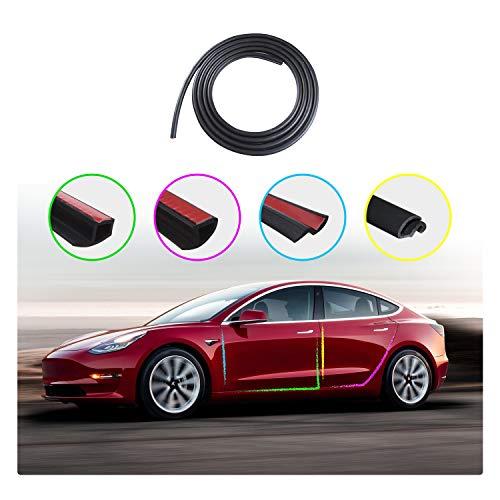 Tesla Model 3 Door Seal Kit, Soundproof Rubber Weather Draft Seal Strip Kit, Dirt Reduce, Weatherstrip Noise Reduction Kit (8PCS for Door Seal Kit)