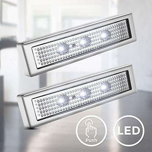 B.K.Licht I 2er Set LED Push-Light I Unterbaulampe I Werkstattlampe I Touch-Lampe I Batteriebetrieben je 3xAAA I 6.000K Kaltweiß I Selbstklebend I Titanfarbig