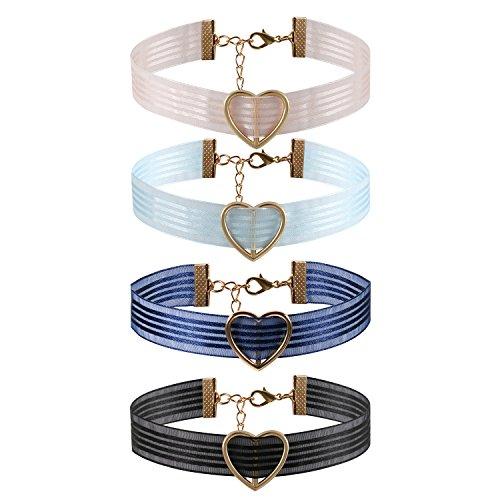 JewelryWe Schmuck 4 Stück Damen Choker Halskette mit Herz Anhänger Streifen Transparent Gothic Halsband Sexy Kette Verstellbar Handarbeit, 4
