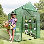"""Mini Walk-in Greenhouse Indoor Outdoor -2 Tier 8 Shelves- Portable Plant Gardening Greenhouse (57L x 57W x 77H Inches… 12 【Strong Construction】This mini walk-in greenhouse is built with high quality metal frame with powder coating, durable bearing net on each layer is strong enough to hold more seed trays, pots and plants growth. The clear waterproof PE cover protects plants from frost or pests while allowing nourishing sunlight to pass through. 【Indoor Outdoor Greenhouse】Waterproof and UV protection, ideal growing environment , can be used indoor and outdoor at all seasons. Perfect for protecting young plants or extending the plant growing season. 【Portable & Easy Setup】Overall Dimensions: 57""""L x 57""""W x 77""""H, Perfect Size for Easy Moving to Indoor or Outdoors. Easy to assemble, no tools required. Enjoying a lot of fun of the flowers and plants in your leisure time!"""