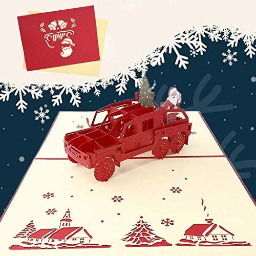 Sethexy 3D Cartoline natalizie Apparire Babbo Natale su una jeep Biglietti d'auguri con buste Vivid Regali di buon Natale per la famiglia migliore amico fidanzato fidanzata