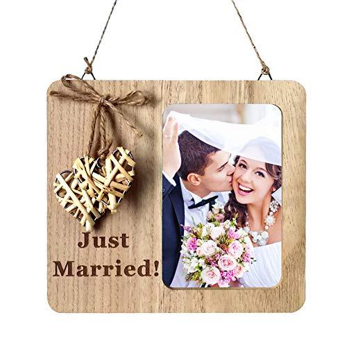 EQLEF Marco Boda, recién Casados Marcos de Fotos de Madera de Estilo Vintage para Bodas Decoración Diaria del hogar 1pc (4x6 Pulgadas / 10x15cm)
