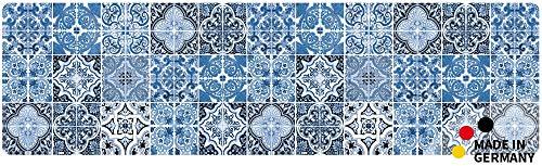 matches21 Küchenläufer Teppichläufer Teppich Läufer Kacheln Muster Retro blau 50x180x0,4 cm maschinenwaschbar