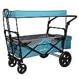 WOLTU® Bollerwagen faltbar mit Dach Handwagen Transportkarre Gerätewagen mit Bremse bis 80 kg belastbar für Kinder Camping Einkaufen Garten Petrol TW017ptlg