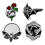 DINGJIN 4 Pcs Punk Enamel Brooch Pin Bat Bee Skeleton Collar Pins Badge Corsage Brooch,Silver
