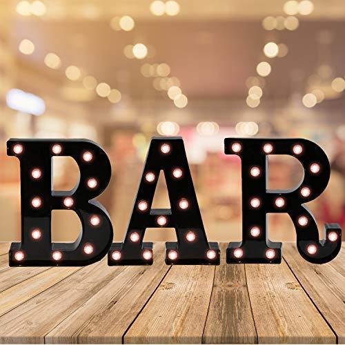 Light Up Black Alphabet Marquee Letters Sign LED Letter Lights for Home Bar Festival Birthday Party Wedding Decorative (Black Letter BAR)