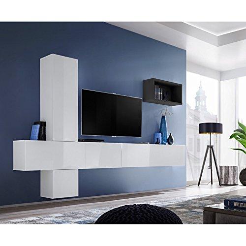 Paris Prix - Meuble TV Mural Design blox VI 280cm Blanc & Noir