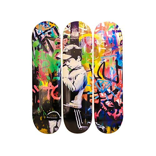 Musart Wood Skateboard Tryptich Wall Art Wall Decor (3 Decks) Forgive Me Limited Edition of 100 32H x 8L x 0.5W Inches