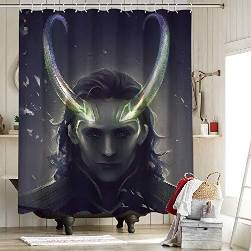 Avengers 4 Stoff-Duschvorhang mit 12 Haken für Badezimmer, Dekoration, Superhelden-Loki ist der Handsome and Beautiful Thor Scratch's Brother, Evil, 183 x 183 cm