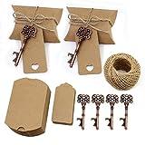 TsunNee Abrebotellas de llaves, abridor de cerveza vintage para boda, con etiquetas de cartón, cajas de caramelos, suministros de barra de banquete de fiesta, 20 piezas