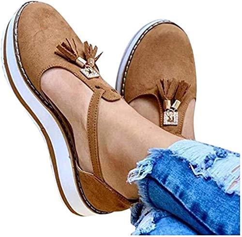 ONEYMM Sandalias Planas Cuña para Mujer Verano 2020 Zapatos Piel Chanclas Zapatillas Casual Cómodas Caminar Fiesta de Playa al Aire Libre Transpirable Antideslizante Mula,Marrón,37