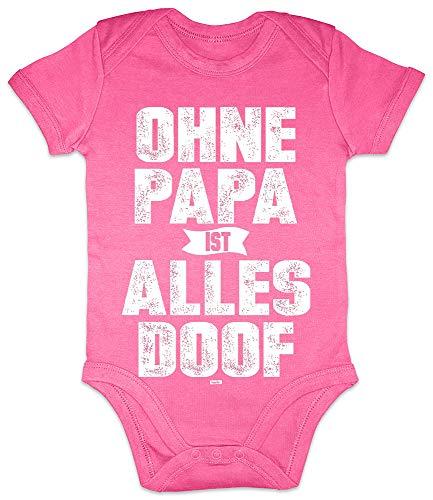 HARIZ Baby Body Kurzarm Ohne Papa Ist Alles Doof Papa Spruch Schwanger Geschenkideen Weihnachten Plus Geschenkkarten Einhorn Fuchsia 0-3 Monate