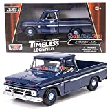 1966 Chevy C10 Fleetside Pickup Truck, Dark Blue - Motormax 73355 - 1/24 Scale Diecast Model Toy Car