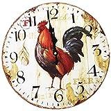 ARLT Vintage Shabby Chic Animales y Flores Estilo 34 cm Reloj de Pared Dormitorio Hogar Cuarzo Cuarzo (Patrón: Granja)