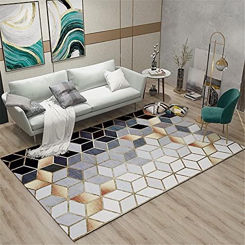 RUGMYW Alfombra Escritorio Lavable Plaid Estéreo 3D Gradiente Gris Azul Home Salon Dormitorio Cocina Oficina Tapetes Alfombra 120X160cm