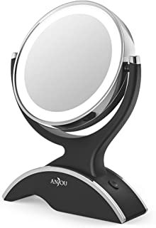 Makeup Mirror LED Lighted with 1X / 7X Magnification, Anjou Vanity Mirror Battery-Powered, Removable, Double Side, 360° Rotation for Countertop Cosmetic Makeup