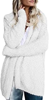 Macondoo Womens Long Sleeve Hooded Coat Open Front Sherpa Jacket Outwear