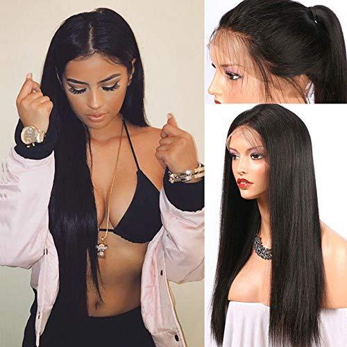 Gpure Pelucas Mujer Pelo Natural 50-65cm Negro Lace Front Liso Largo Peinado de Afro ,Cómodo para la Piel , para Fiesta De Cosplay Carnaval, Puedes Usar un Rizador o una Plancha (24inch)