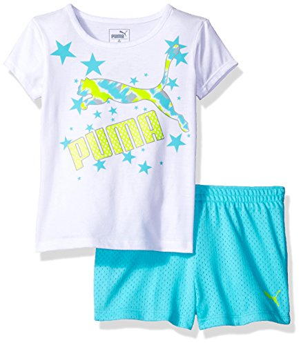 PUMA Little Girls Tee and Short Set, White, 6