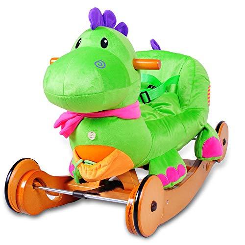 Kibten Enfant Rocking Horse Dinosaur Toutou Chaise à bascule Rocker Riding Kids First Ride on jouets à l'intérieur du nourrisson extérieur des animaux à bascule avec son cadeau for Garçon Fille Toddle