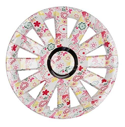 PREMIUM Radkappen Radzierblenden Radblenden \'Modell: Onyx Flower Look\' 4er Set, Farbe: Bunt, Felgendurchmesser:15 Zoll