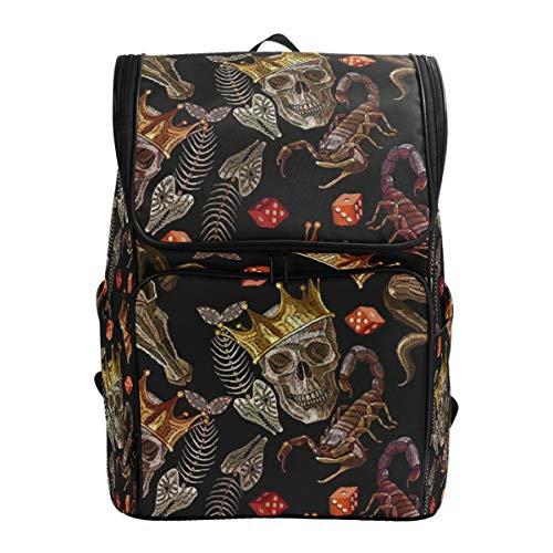 Mokale Embroidery Skulls Scorpion Bull Head Seamless,Backpack Rucksack Travel Bag Hiking Knapsack College Student School Bookbag Travel Daypack for Men or Women
