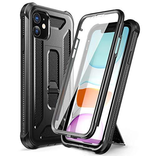 Dexnor Kompatibel mit iPhone 11 hülle (6.1''), 360-Grad-Ganzkörper Schutzhülle gegen Stöße (Release 2019) mit eingebauter Displayschutzfolie und Ständer - Schwarz