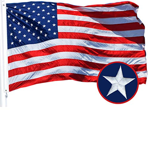 G128 – American Flag | 3x5 feet | Embroidered 210D – Embroidered Stars, Sewn Stripes, Brass Grommets, Indoor/Outdoor, Vibrant Colors, Quality Polyester, US USA Flag