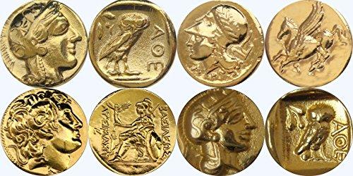 Goldene Artefakte Athene / Eule, Athene / Pegasus, Alexander der Große / Athene, Athene / Eule Drachme, 4 berühmteste griechische Münzen (SET3-G)
