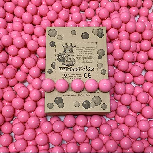100 bolas de plástico ecológico para piscina de bolas de caña de azúcar renovable, materias primas, 6 cm de diámetro, para guarderías y comerciales, color rosa