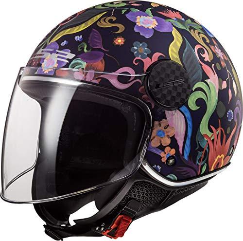 LS2 NC Casco per Moto, Hombre, Negro Azul Rosa, M