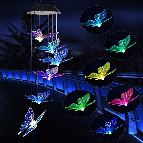 Wind Chime,solar lights chimes,butterfly wind chimes led/solar hummingbird wind chime Outdoor decor,yard decorations solar light mobile,memorial wind chimes,(gifts for mom,birthday gifts for mom)