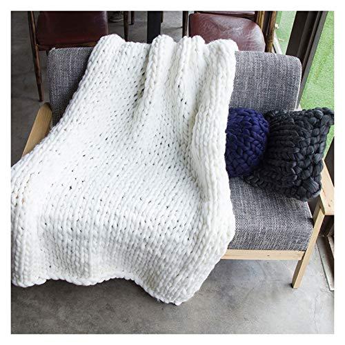 Manta De Poliéster De Punto Grueso Hecha A Mano para El Sofá para Mascotas Suave De Punto para Cama O como Decoración (Color : White, Size : 130x170cm)